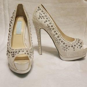 Betsey Johnson white wedding heels
